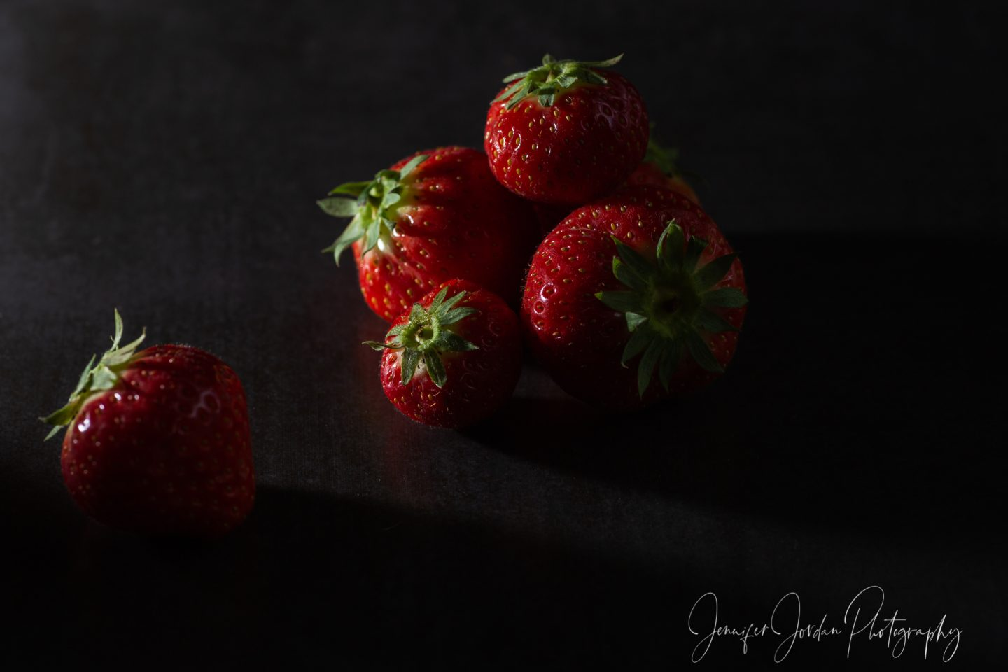 Strawberries low key lighting. Delicious food photography by Jennifer Jordan Photography Cornwall